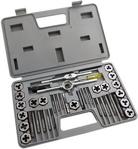 40 PCE METRIC TAP WRENCH AND DIE PRO SET CUTS M3 - M12 BOLTS IN HARD MOULD CASE