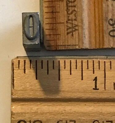 Vintage Antique Metal Printer Printing Press Block Tiny Number 0 7662