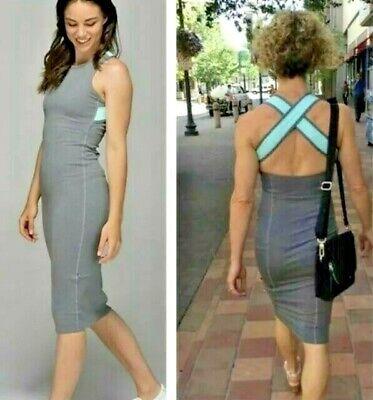 Lululemon Grey Picnic Play Heathered Slate Dress Cross back Size 6 BodyCon