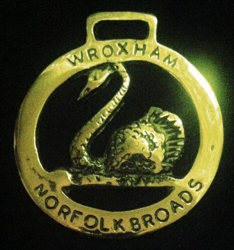 Vintage SWAN WROXHAM NORFOLK BROADS Horse Harness Brass England WOW YOUR WALLS!