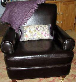 Brown Leather (Dark) Armchair Castor feet