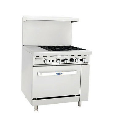 Atosa Cookrite Ato-12g4b 36-inch 4 Burner Heavy Duty Gas Range With 12-inch Lef