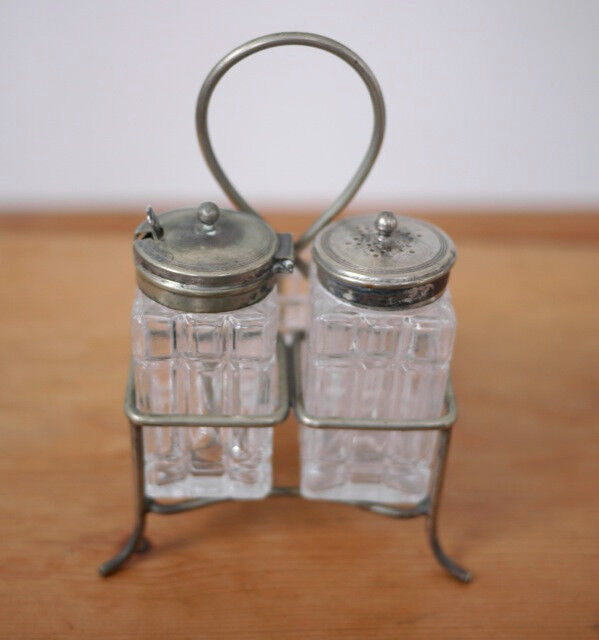 Antique Sterling Spoon & EPNS Silverplate Salt Pepper Shaker Set Mustard Pot