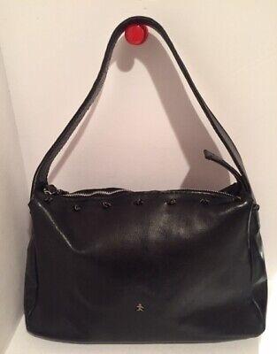 Henry Cuir Beguelin Black Leather Shoulder Bag  Purse Handbag #1958