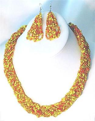 (Seed Bead Necklace Set 18 Strand Orange Yellow Fashion Jewelry)
