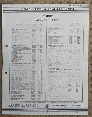 Morris Series III 10hp   Lucas parts list 331