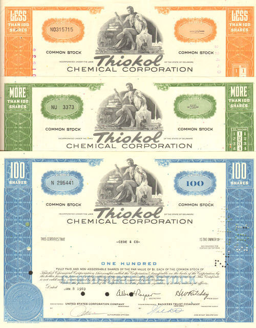 Lot of 3 > Thiokol Chemical Corp > stock certificates