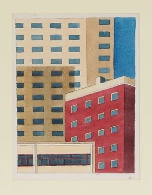 "Robert Herrmann Original Watercolor ""Hotel & Old Apartment House"""