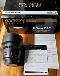 Rokinon 85mm T1.5 cine lens Sony a-mount adaptable to e-mount