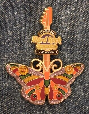Hard Rock Casino~Hotel 2011 Butterfly Gemstone Guitar Series Pin ~ Hollywood, Fl