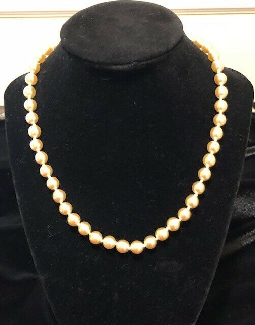 Vintage Kenneth Jay Lane Champagne Colored Faux Pearl Choker Necklace