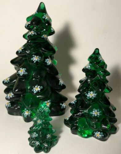 MOSSER GLASS CHRISTMAS TREE HUNTER GREEN HAND PAINTED SET OF 3