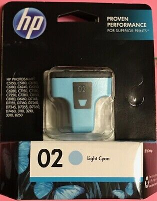 Genuine Light Cyan Ink Cartridge HP 02 Model C8774WN New In -