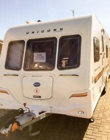 Bailey Unicorn Valencia Caravan- 2012. Fixed Bed Caravan, Alde central heating.