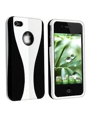 White / Black Cup-shape Snap-on Rubber Coated Case for Apple iPhone 4/4S (Black Rubberized Coating Snap)