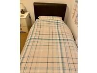 Faux Leather Upholstered Single Bed, Mattress, Quilt & Complete Bedding Set