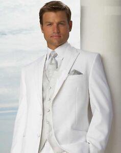 Uomo-abito-matrimonio-sposo-slim-fit-4-pezzi-bianco-wedding