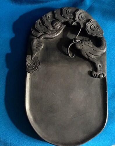 Highly Carved & Detailed Duan Inkstone Chinese Chasing Dragon Calligraphy