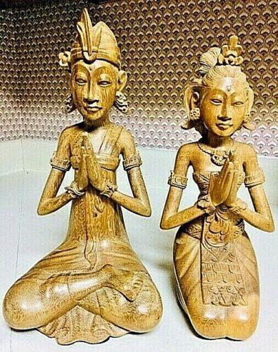 Vintage Hand Carved Balinese Satinwood Wedding Couple #1