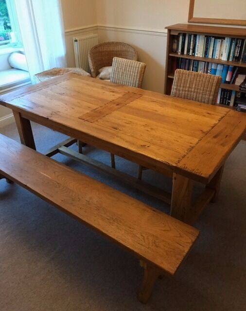 Lovely French Oak Dining Table With Bench And Extensions