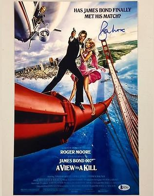 Roger Moore Signed View To A Kill 11X17 Movie Poster Photo Bas Beckett Coa   007