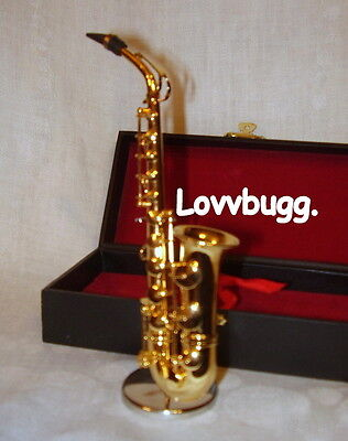 Saxophone Mini with Stand and Case Perfect for American Girl Doll Music Instrument Accessory BJD