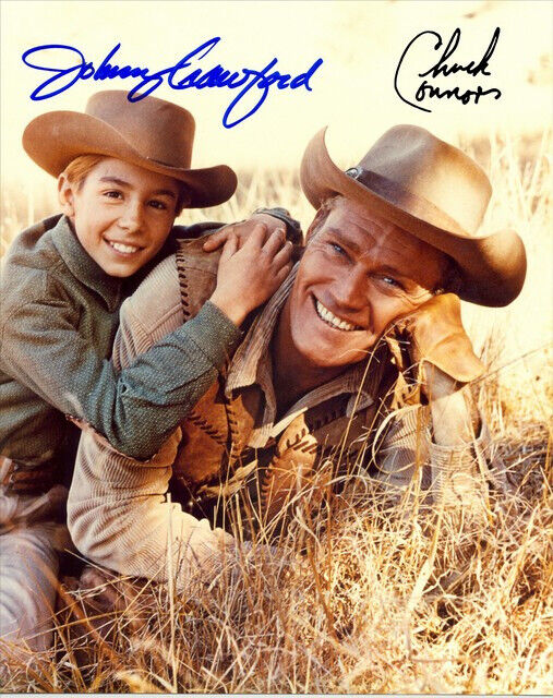 CHUCK CONNORS &  JOHNNY CRAWFORD SIGNED PHOTO 8X10 RP AUTOGRAPHED THE RIFLEMAN *