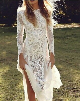 New White Ivory A Line Lace Wedding Dress V Neck Lace Back With Long Sleeves