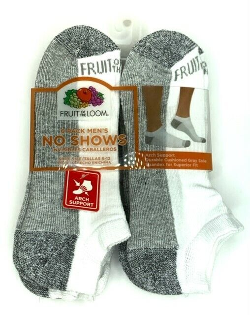 Fruit of the Loom Men's Cushioned No Show Socks 6 pair Clothing, Shoes & Accessories