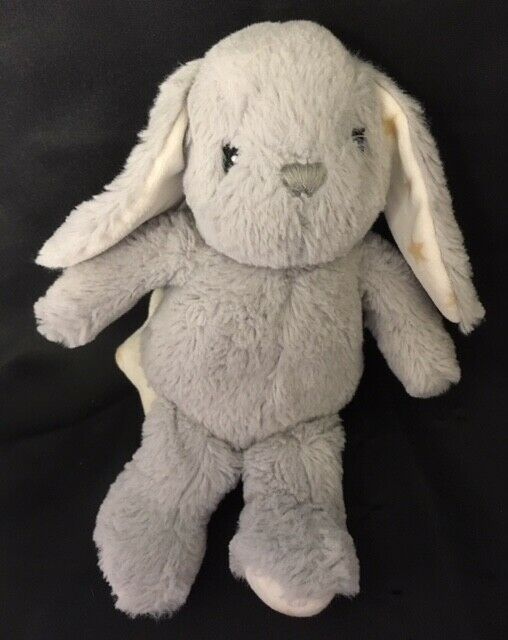"Cloud B HUGGINZ BUNNY Musical Crib Pull 8"" Gray Plush Stars Baby Toy"