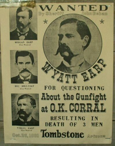 WYATT EARP DOC HOLLIDAY WANTED POSTER 8X10 PHOTO WILD WEST OK CORRAL TOMBSTONE