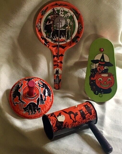 Lot of 4 Vintage Halloween Tin Noisemakers Cohn, U.S. Metal Witches Black Cats