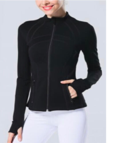 Women Fitness Work Out Active  Full Zip Up Fitted Athletic Jacket W/ Thumb Holes