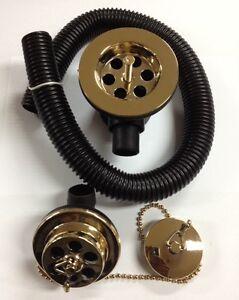 Gold Bath Waste With Plug & Chain