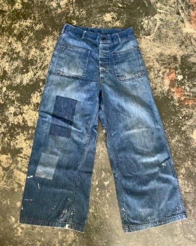 Vintage denim WWII USN Navy dungarees jeans Original 28/26 Indigo med fade Blue