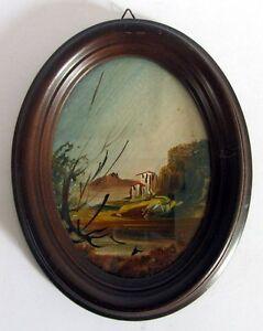 ancien cadre en bois ovale avec peinture miniature sous verre porte photo ebay. Black Bedroom Furniture Sets. Home Design Ideas
