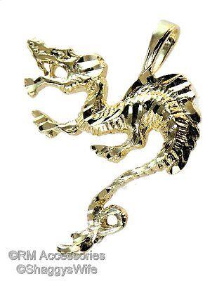 Oriental Dragon Pendant / Charm EP Gold Plated Jewelry w/ Lifetime Guarantee!
