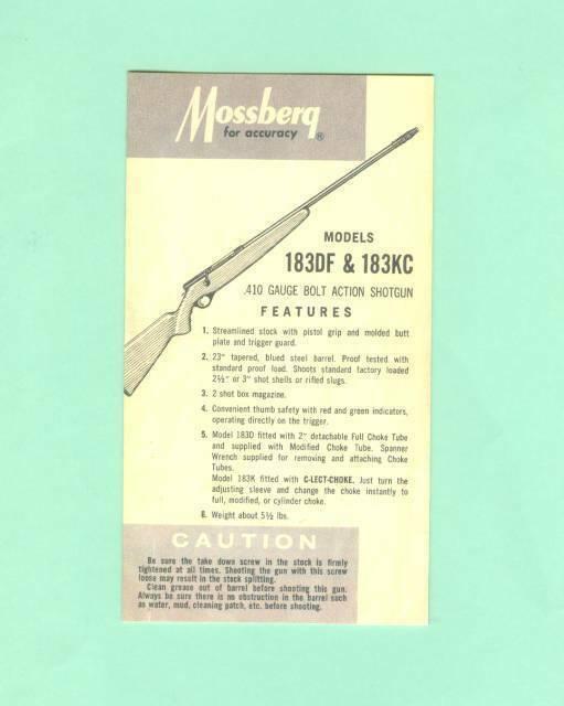 Mossberg Model 183DF & 183KC Instruction Manual Folder Reproduction