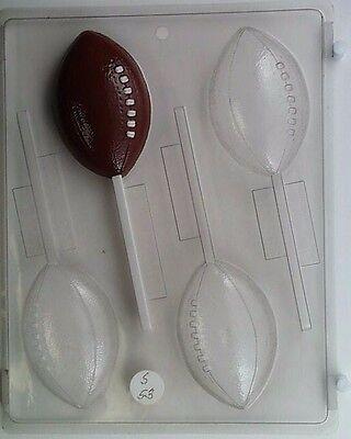 FOOTBALL LOLLIPOP CLEAR PLASTIC CHOCOLATE CANDY MOLD S053