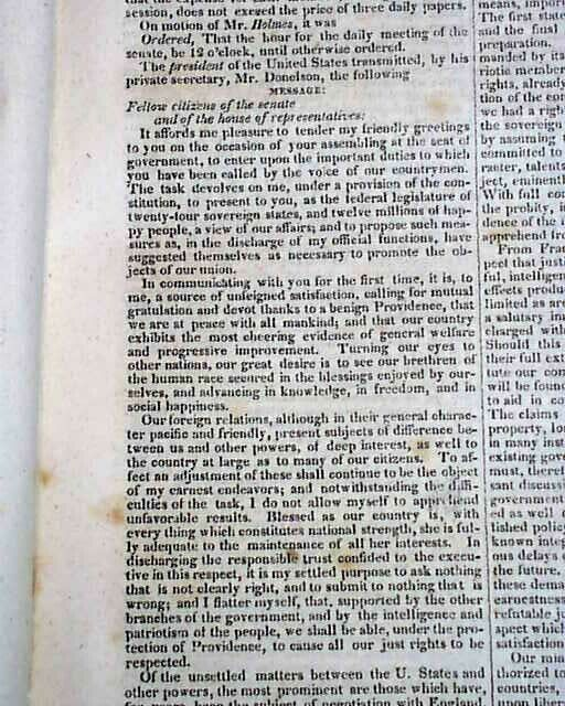 """ANDREW JACKSON Proposes Indian Removal Act re. """"Trail of Tears"""" 1829 Newspaper"""