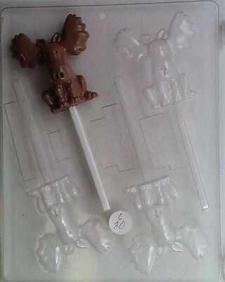 MOOSE LOLLIPOP CLEAR PLASTIC CHOCOLATE CANDY MOLD (Chocolate Moose Chocolate Candy)