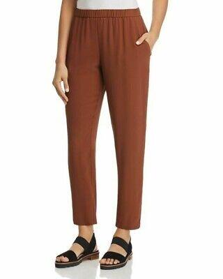Eileen Fisher Nutmeg Silk Georgette Crepe Slouchy Ankle Pants sz L NWT $258