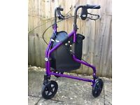 Days 240LP Lightweight Aluminium Folding Three Wheel Walker - AS NEW.