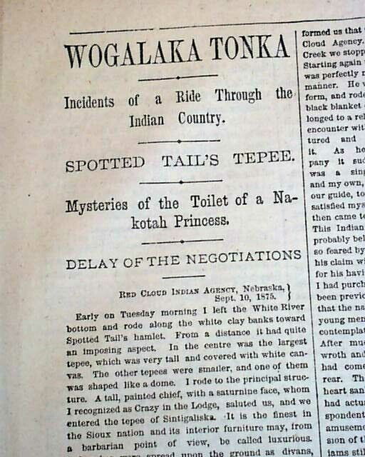CHIEF SPOTTED TAIL Brule Lakota Sioux Indians Nebraska Agency 1875 Old Newspaper