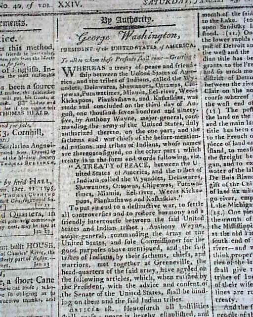 President GEORGE WASHINGTON Native Americans Indians Treaty 1796 Old Newspaper