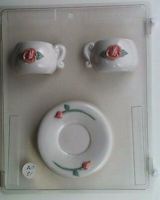 TEACUP AND SAUCER 3D CLEAR PLASTIC CHOCOLATE CANDY MOLD AO081