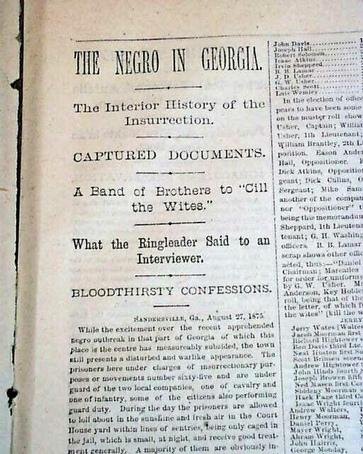 Sandersville & More GA GEORGIA BLACKS UPRISING Insurrection Trial 1875 Newspaper