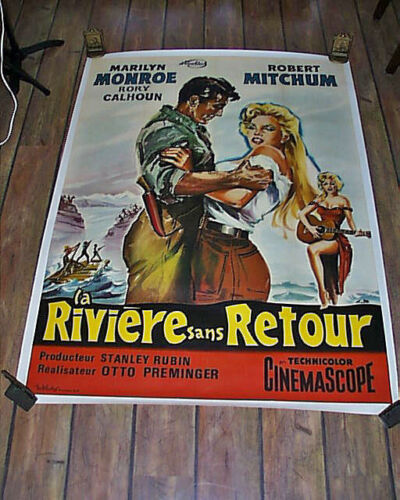 SALE!Original Large River Of No Return Marilyn Monroe French Movie Linen Poster