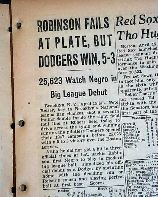 Historic JACKIE ROBINSON Breaks Color Barrier MLB Baseball Debut 1947 Newspaper