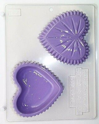 CRYSTAL HEART POUR BOX CLEAR PLASTIC CHOCOLATE CANDY MOLD V164 Clear Plastic Mold